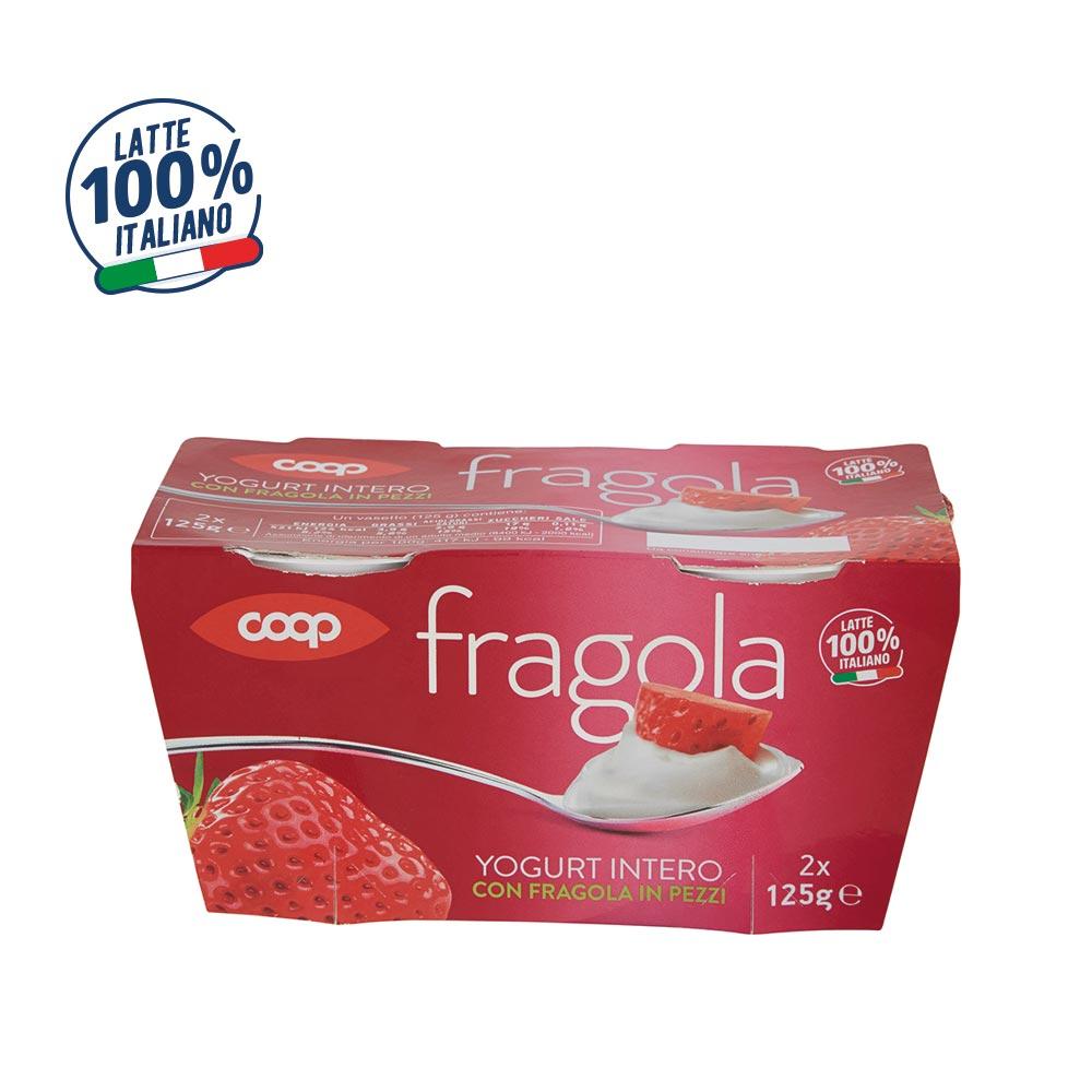 YOGURT INTERO CON FRAGOLA IN PEZZI COOP